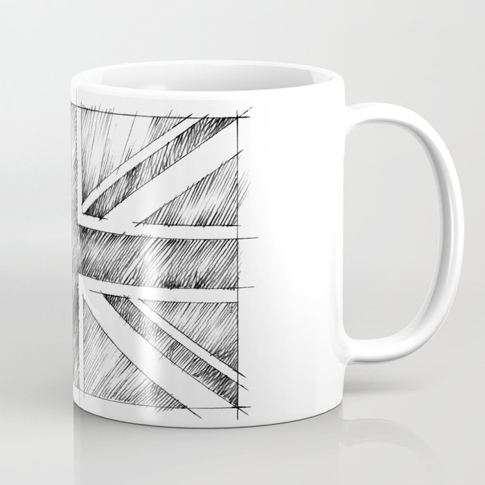 Uk Flag Monochromatic Line Drawing Coffee Mug