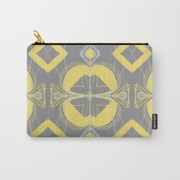 Patterned grey and yellow repeat pattern Carry-All Pouch