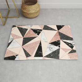 Modern black white marble rose gold glitter foil geometric abstract triangles pattern Rug