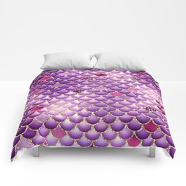 Purple Mermaid Scales Comforters