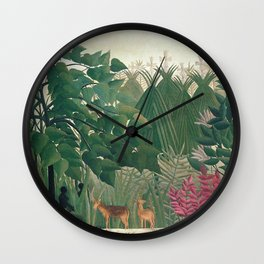 The Waterfall by Henri Rousseau 1910 // Jungle Waterfall Deer Indigenous People Flowers Plant Scene Wall Clock