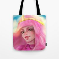 princess bubblegum Tote Bags featuring Princess Bubblegum by ChrySsV