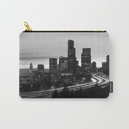 Seattle Skyline Sunset City - Black and White Carry-All Pouch