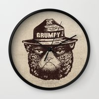grumpy Wall Clocks featuring Grumpy PSA by Eric Fan
