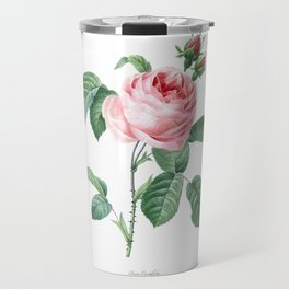 Nature, botanical print, flower poster art of Provence rose Travel Mug