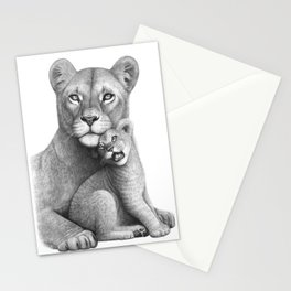 Lioness with a baby Stationery Cards