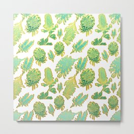 Green and gold australian native floral print Metal Print