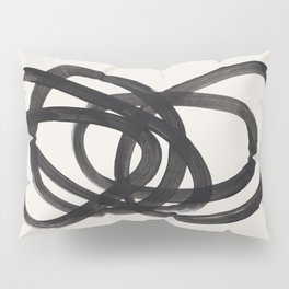 Mid Century Modern Minimalist Abstract Art Brush Strokes Black & White Ink Art Spiral Circles Pillow Sham