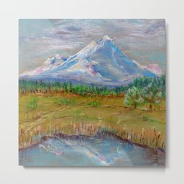 Landscape with montane and lake for good interior design drawing by pastel Metal Print