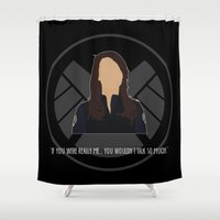 agents of shield Shower Curtains featuring Agents of S.H.I.E.L.D. - May by MacGuffin Designs