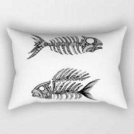 Original Artwork Fish Bone print, Abstract Ink Painting, Summer Home Decor, Seasonal Art Gift Rectangular Pillow
