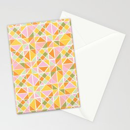 Geometric Shape Pattern in Tropical Colors Stationery Cards