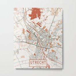 Utrecht City Map of Netherlands - Bohemian Metal Print