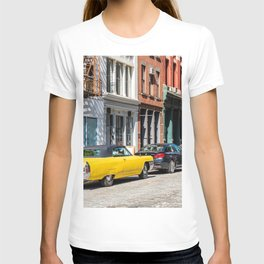 Yellow car in Tribeca, New York T-shirt