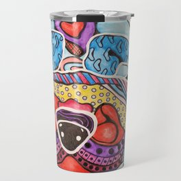 Bubbles Shar Pei Chinese Dog Puppy Pet Love Colorful Wrinkles Bright Colors Design Red Blue Happy Travel Mug