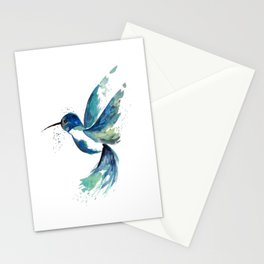 Blue Hummingbird Watercolor Stationery Cards