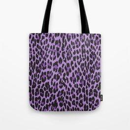 Animal Print, Spotted Leopard - Purple Black Tote Bag