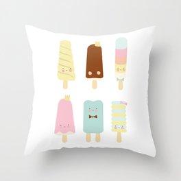 Icecreams all over Throw Pillow