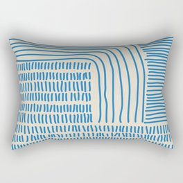 Digital Stitches thick beige + blue Rectangular Pillow