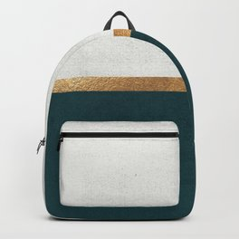 Deep Green, Gold and White Color Block Backpack