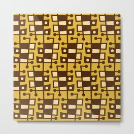 Mid Century Modern Abstract 212 Yellow and Brown Metal Print