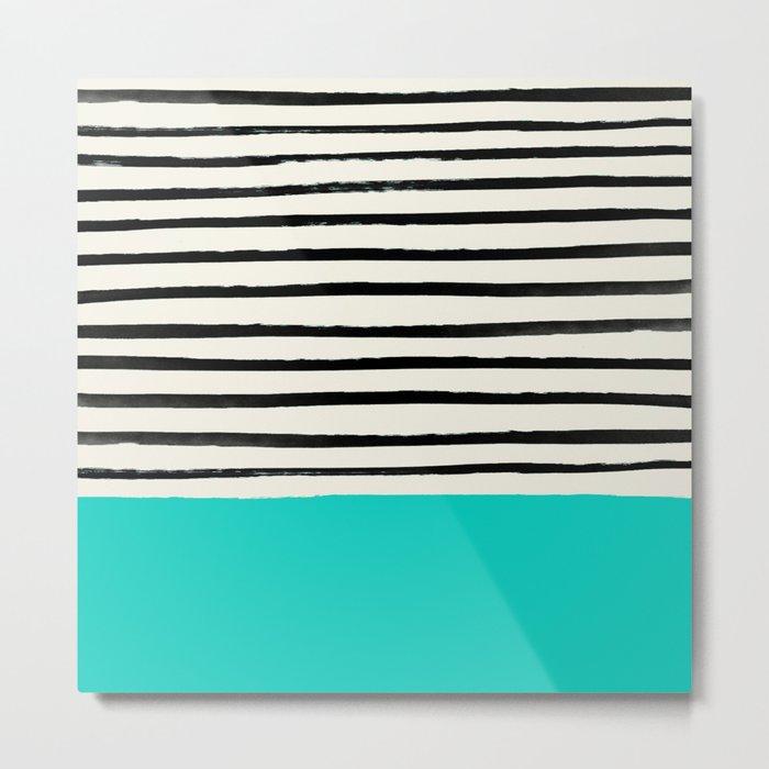 Aqua & Stripes Metal Print
