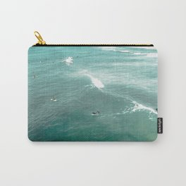 California Surf // Coastal Spring Waves Teal Blue and Green Ocean Huntington Beach Views Carry-All Pouch
