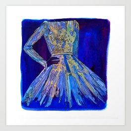 Elie Saab Blue Metallic Dress Art Print