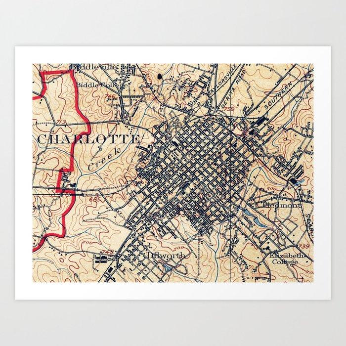 Vintage Map of Charlotte North Carolina (1905) Art Print by ...