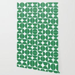 Mid Century Modern Geometric 04 Green Wallpaper