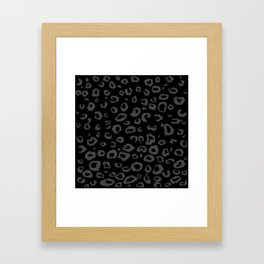 Black and Gray Leopard Framed Art Print