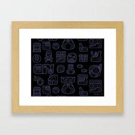 Picto-glyphs Story--Negro Framed Art Print