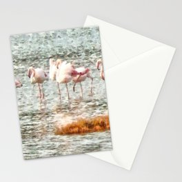 Six Flamingos A Wading Watercolor Stationery Cards