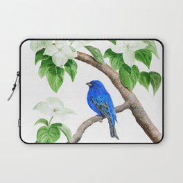 Royal Blue-Indigo Bunting in the Dogwoods by Teresa Thompson Laptop Sleeve