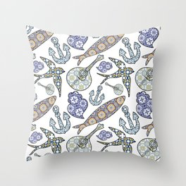 Collection of traditional Portuguese icons in seamless pattern. Throw Pillow