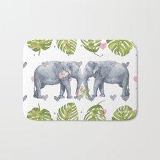 Soulmates - Elephant Ilustration - Bagaceous Bath Mat