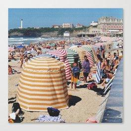 Biarritz Beach Tents Canvas Print