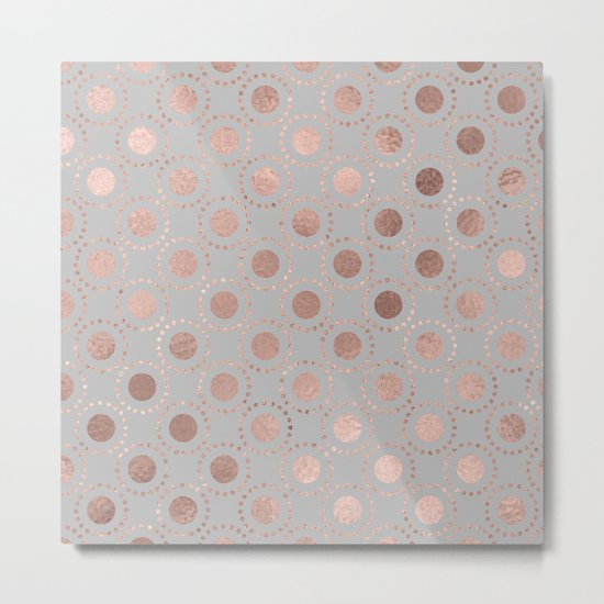 Rosegold pink metalfoil polkadots on grey background 1 Metal Print