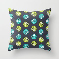 Blue Green Cute Bugs Pattern Throw Pillow