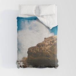 Coral Rock Meets Crashing Waves #1 #ocean #wall #decor #art #society6 Comforters