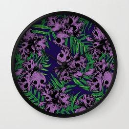 Orchid Skulls Wall Clock