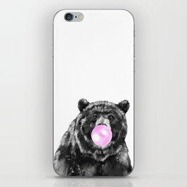 Bubble Gum Big Bear Black and White iPhone Skin