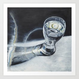 Glass of the water in the light Art Print
