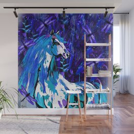 HORSE INDIGO BLUE AND DRAGONFLY NIGHTS Wall Mural