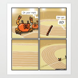 Crab race Art Print