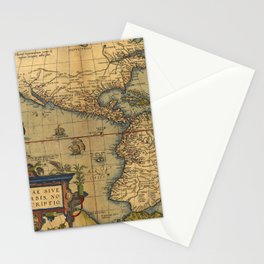 Antique Map of North and South America 1570 Stationery Cards