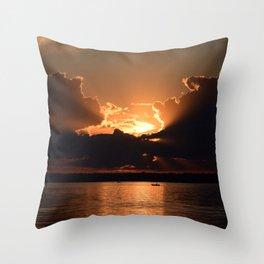Fisherman Sunset Throw Pillow