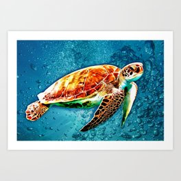 SEA TURTLE SWIMMING Art Print