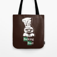 baking Tote Bags featuring Baking Bad by Mike Handy Art