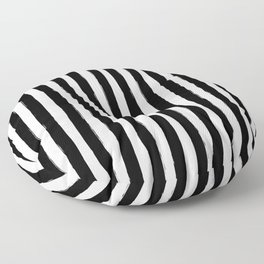 Black and White Cabana Stripes Palm Beach Preppy Floor Pillow